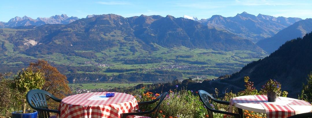 Aussicht vom Bergbauernhof Alpeli