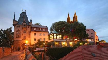 Blick zum Hotel Burgkeller
