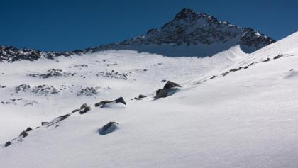 Wildkarspitze, Pulver vom Skidepot hinunter
