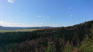 Foto Aussicht vom Kleinhennersdorfer Stein zum Hohen Schneeberg