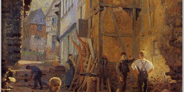 Karl Weysser (1874): Blick durch das Wehrkirchentor in die Kirchstraße