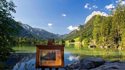 Malerweg Ramsau: Infotafel am Hintersee