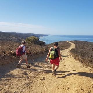 Wanderer auf dem Sandwanderweg