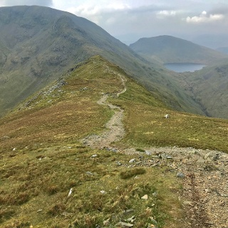 Ridgeline up to St Sunday Crag, Distant View to Grisedale Tarn