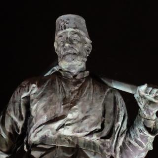 Henner - Bronzestatue des Bergmanns auf der Siegbrücke