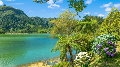 Beautiful view of Furnas Lake Lagoa das Furnas