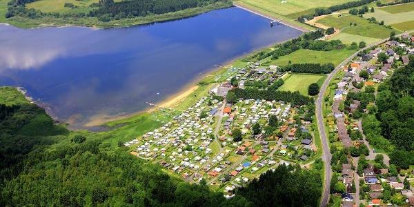 Luftbild Campingplatz an der Krombachtalsperre