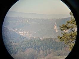 Foto Weitsicht durch Fernglas vom Brand nach Rathen