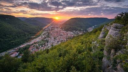 Sonnenuntergang am Kunstmühlefels, Hochbergsteig Bad Urach