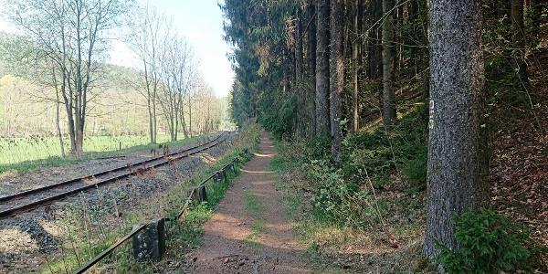 Weg an Bahnschienen entlang