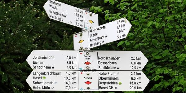 Wegweiser bei Greistel (506 m).