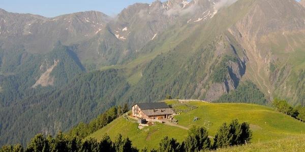 Ein Logenplatzl - Eingebettet in saftigen Almwiesen liegt die bewirtschaftete Gampiel Alm auf 2.045 Metern auf einem Geländevorsprung, der eine atemberaubende 360° Fernsicht hinunter ins Pfunderertal und auf die umliegenden Gipfel der Pfunderer Berge bietet.