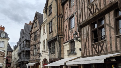 15th Century Timbered Houses at the Place Plumereau, Tours.