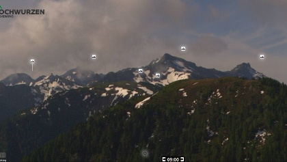 17. June 2019 | snowfields at Schiedeck on the trail Hochwurzen-Giglachseen can be seen on the webcam from Hochwurzen