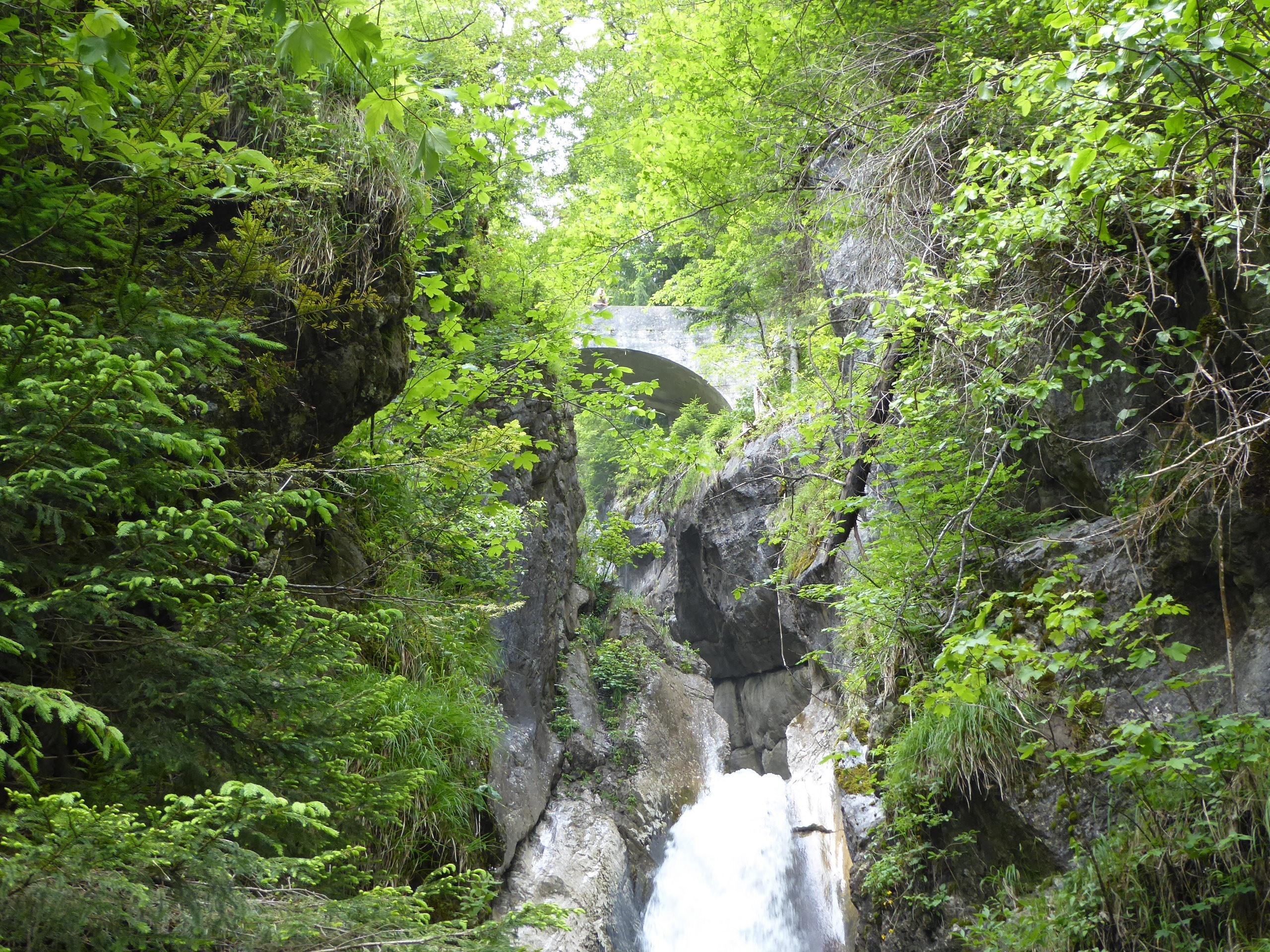 Wasserfall mit Brücke im Hintergrund