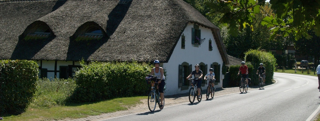Reetdachhaus mit Radfamilie