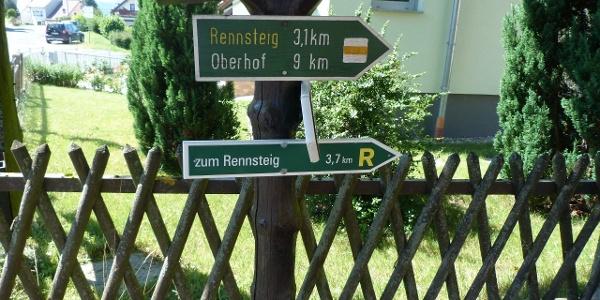 Wegweiser Rennsteig-Leiter Suhl Goldlauter