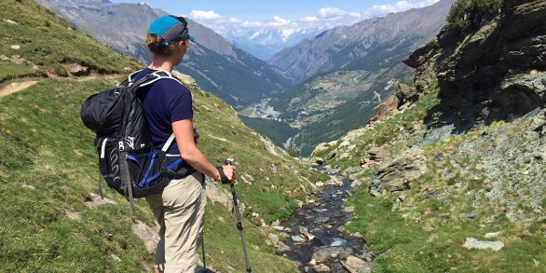 The view from Lago de Loie back to Mt Blanc and the Cogne Valley