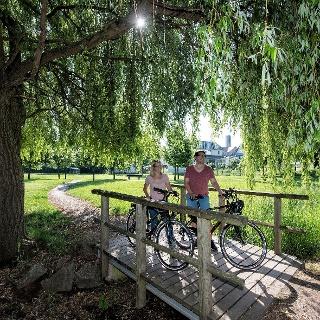 Radfahrer auf dem Klingbachradweg