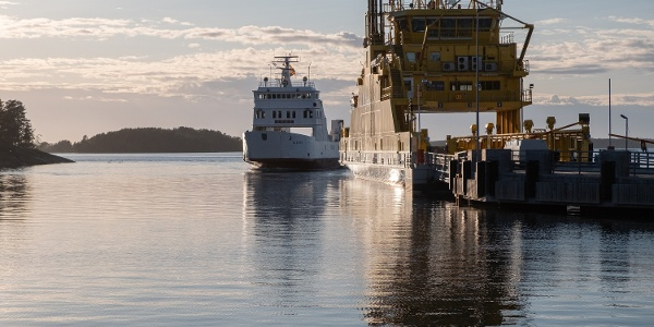 The ferry to Åland arriving at Galtby