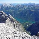 Blick vom Gipfel zurück zum Startpunkt