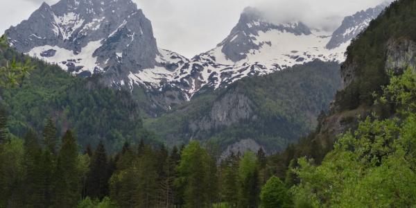 Blick über den Schiederweiher auf die Spitzmauer und den großen Priel