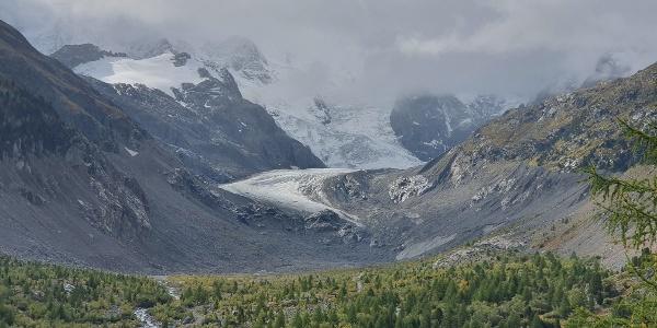 Blick auf Morteratsch Gletscher von Aussichtspukt