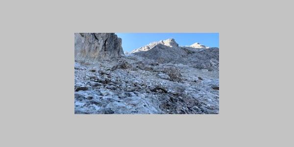 Schlüsselstelle Elferscharte oft mit Eis & Schnee