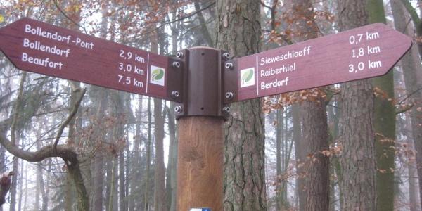 Beispiel für Wegweiser in Luxemburg