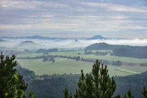 Foto Mystische Morgenstimmung an der Aussichtsstelle des Kohlbornsteins