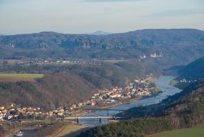 Foto Blick vom Lilienstein Richtung Bad Schandau