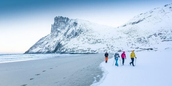 Hiking at Kvalvika