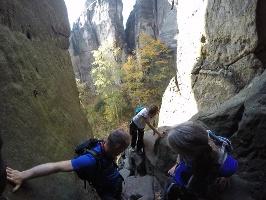 Foto Auf dem Podest vor der Höhle in der Rübezahlstiege