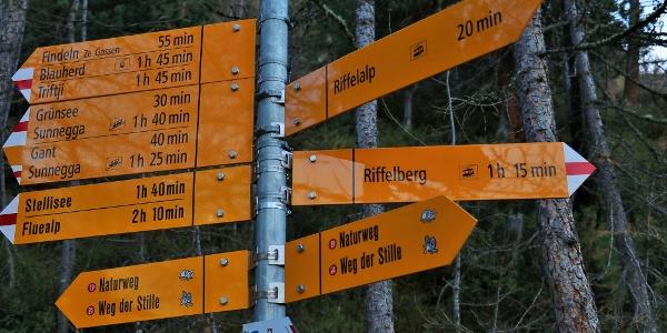 Signalisation sur le chemin de retour de la randonnée. Prendre le chemin en direction de Riffelberg.