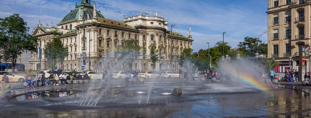 Fountain at the Karlsplatz in Munich