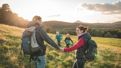 Wanderer im Naturpark Zittauer Gebirge