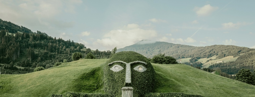 "The so-called ""Giant"" watches over the entrance to the Swarovski Crystal Worlds"