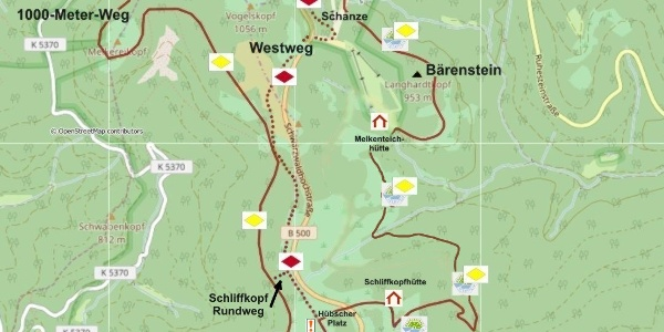 Die OSM-Karte bietet Ihnen einen Überblick über die beiden Wanderungen westlich und östlich der Schwarzwaldhochstraße