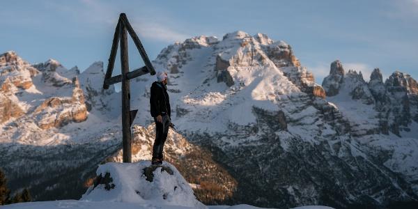 "Snowshoe hike near ""Malga Ritoro"" alpine hut"