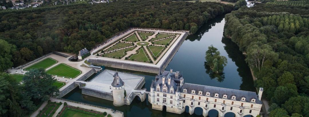 Luftaufnahme des Château de Chenonceau