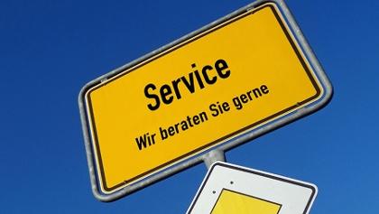 Service Schild - Wir beraten Sie gerne