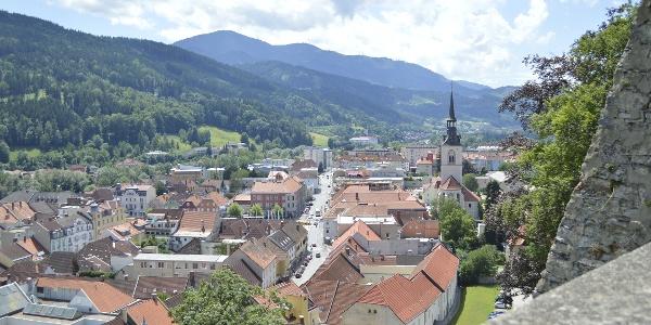 Blick vom Schlossberg auf Bruck an der Mur