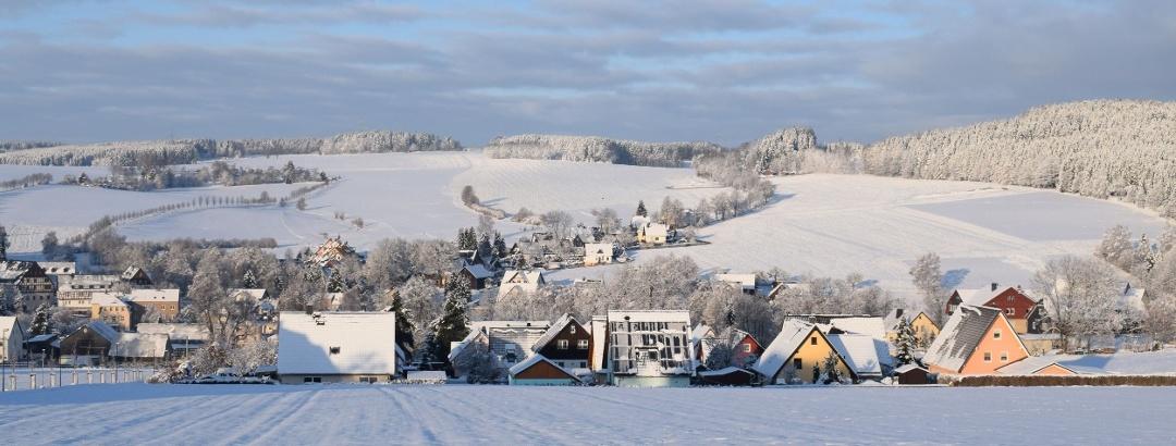 Winterlicher Ausblick auf Zwönitz Ortsteil Dorfchemnitz