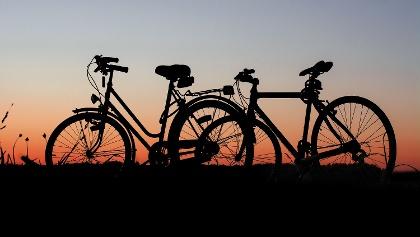 Bikes at sunset
