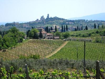 erster Blick auf San Gimignano
