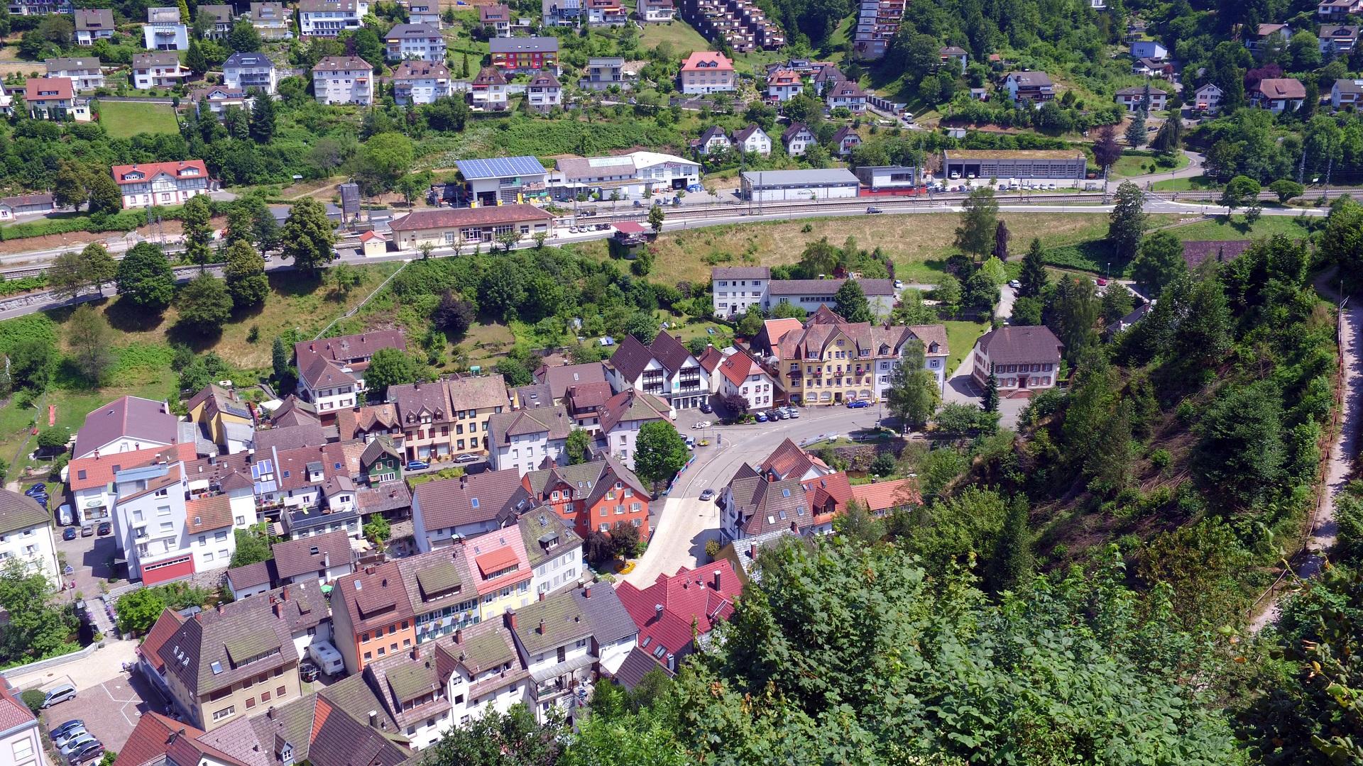 Blick vom Schlossberg Richtung Bahnhof