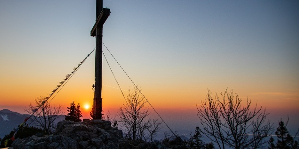 Sonnenuntergang am Aussichtspunkt.