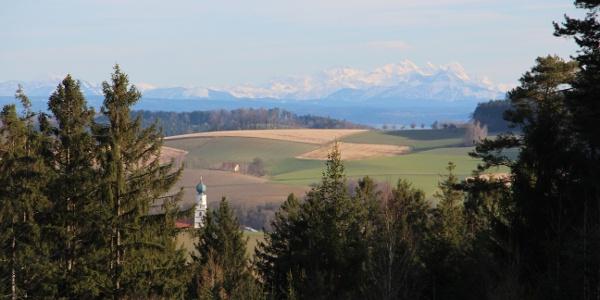 Alpenansicht vom Aussichtspunkt in Fuchsöd