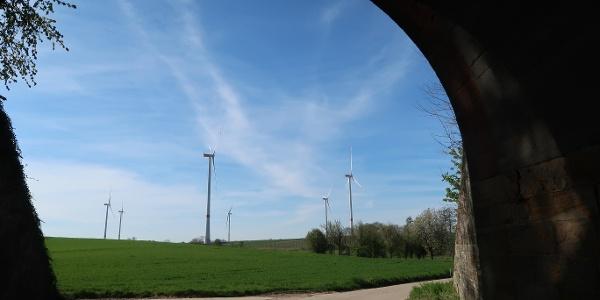 Ausblick aus der Unterführung auf die Windräder der Nordic Walking Strecke 3 in Freckenfeld