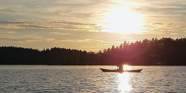 Paddling in the evening sun